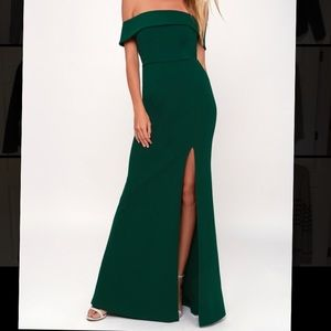 Lulus Forest Green off the shoulder dress